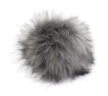 Pro Lana XXXL Fur Pompom, not from Animal, with snap, gray mix black