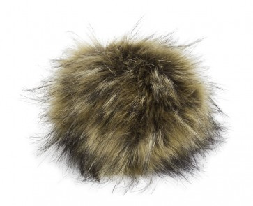 Pro Lana XXXL Fur Pompom, not from Animal, with snap, natural raccoon