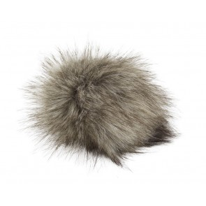 Pro Lana XXXL Fur Pompom, not from Animal, with snap, beige black