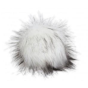 Pro Lana XXXL Fur Pompom, not from Animal, with snap, white black