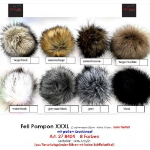 Pro Lana XXXL Fur Pompom, not from Animal, with snap, gray mix black